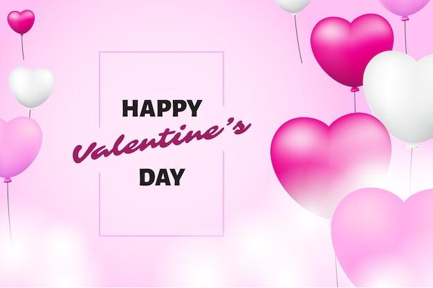 Glücklicher valentinstag mit realistischem hintergrund der herzen