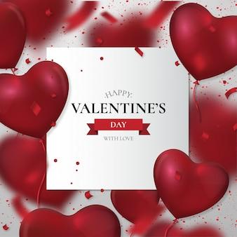 Glücklicher valentinstag mit realistischen ballonen