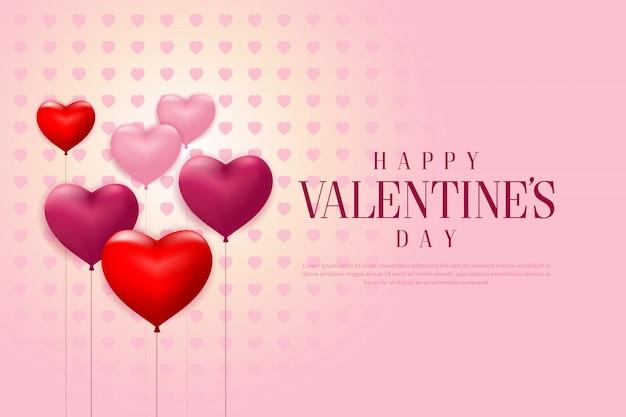 Glücklicher valentinstag mit realistischen heart-shaped ballonen und rosafarbener hintergrundfahne