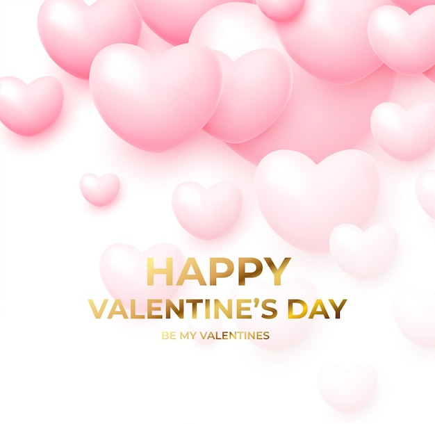 Glücklicher valentinstag mit rosa und weißen fliegenden luftballons mit goldener beschriftung