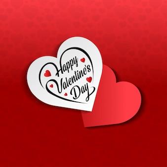 Glücklicher valentinstag mit rotem musterhintergrund
