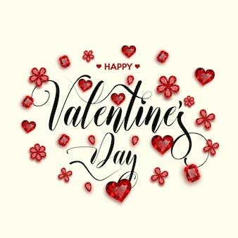 Glücklicher valentinstag mit roten edelsteinen.