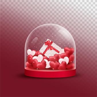 Glücklicher valentinstag mit roten und rosa luxusherzen, geschenkbox im deckglasglas transparenten hintergrund.