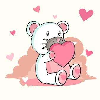 Glücklicher valentinstag mit teddybären in der liebe