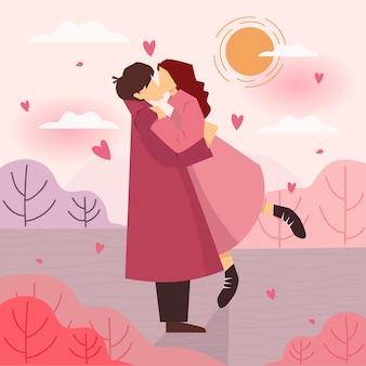 Glücklicher valentinstag mit umarmungen einer liebespaarillustration