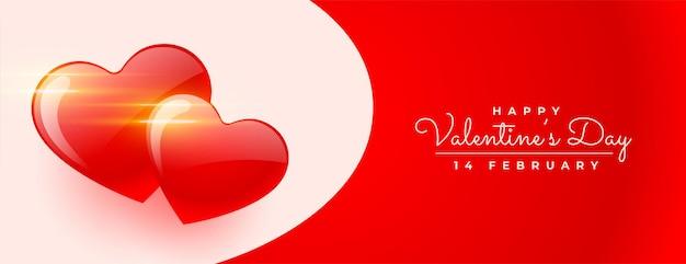 Glücklicher valentinstag mit zwei herzen