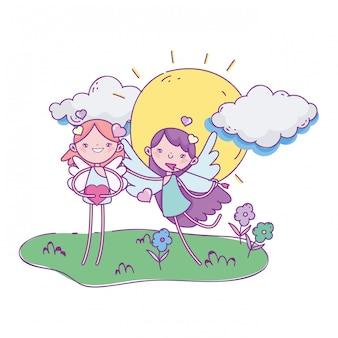 Glücklicher valentinstag, nette amorkarikaturpfeilherz-sonnenwolken