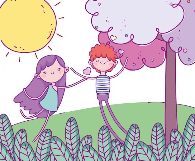 Glücklicher valentinstag, netter junge und amorfeldlaubbaumherzliebe