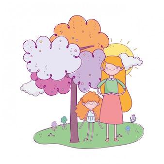 Glücklicher valentinstag, nettes mädchen und amor mit karikatur des baumgrases sonniger tages