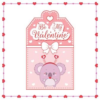 Glücklicher valentinstag niedliche baby-koala-zeichnungskarte