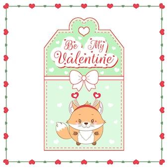 Glücklicher valentinstag niedliche babyfuchs-zeichnungskarte
