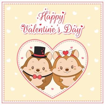 Glücklicher valentinstag niedliche eichhörnchen, die postkarte großes herz zeichnen