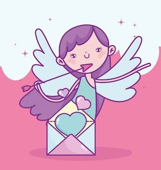 Glücklicher valentinstag, niedlicher amor mit pfeil und buchstaben lieben romantische karikaturvektorillustration