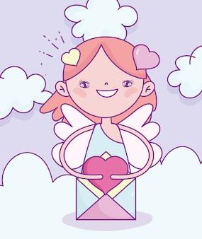 Glücklicher valentinstag, niedlicher amor mit postliebe romantische wolkenillustration