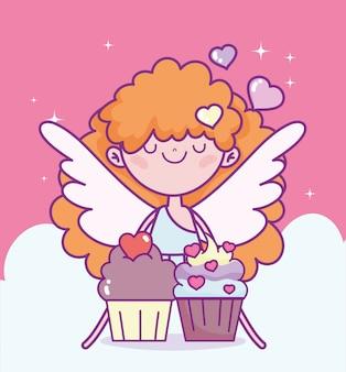 Glücklicher valentinstag, niedlicher amor mit süßen cupcakes lieben cartoon-vektorillustration