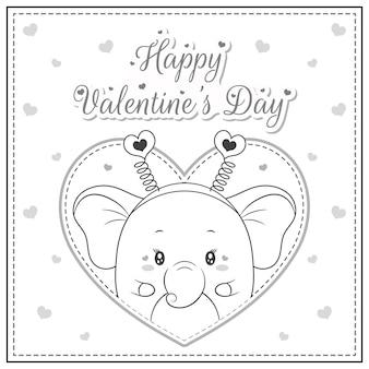 Glücklicher valentinstag niedlicher elefant, der postkarte großes herzskizze für färbung zeichnet