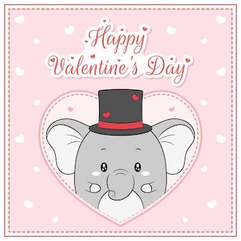 Glücklicher valentinstag niedlicher elefantenjunge, der postkarte großes herz zeichnet