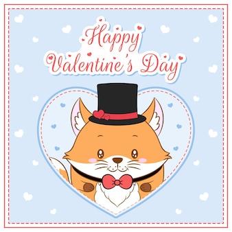 Glücklicher valentinstag niedlicher fuchsjunge, der postkarte großes herz zeichnet