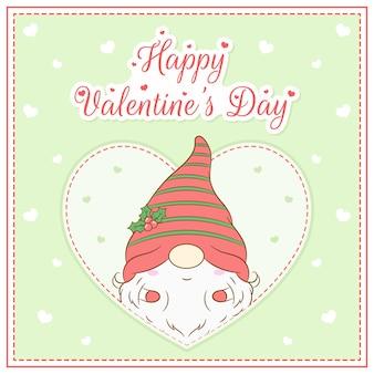 Glücklicher valentinstag niedlicher gnomjunge, der postkarte großes herz zeichnet
