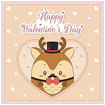 Glücklicher valentinstag niedlicher hirschjunge, der postkarte großes herz zeichnet