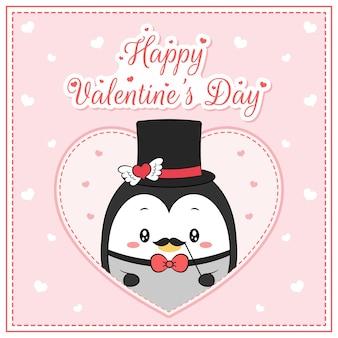 Glücklicher valentinstag niedlicher pinguinjunge, der postkarte großes herz zeichnet