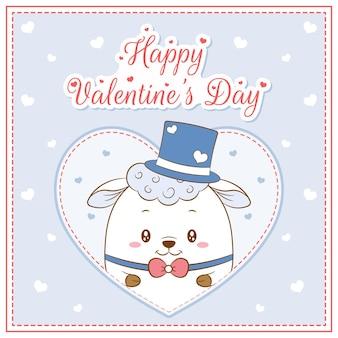 Glücklicher valentinstag niedlicher schafjunge, der postkarte großes herz zeichnet