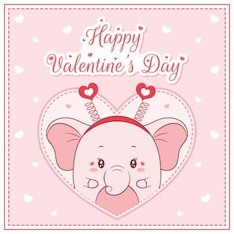 Glücklicher valentinstag niedliches elefantenmädchen, das postkarte großes herz zeichnet