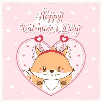 Glücklicher valentinstag niedliches fuchsmädchen, das postkarte großes herz zeichnet