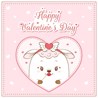 Glücklicher valentinstag niedliches schafmädchen, das postkarte großes herz zeichnet