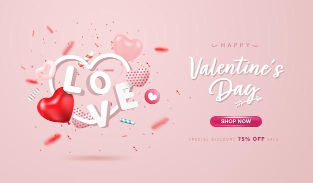 Glücklicher valentinstag online-shopping-banner oder hintergrunddesign. schöne herzen, liebesbrief und konfetti auf pastellrosa hintergrund.