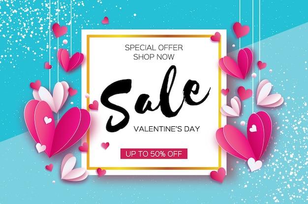 Glücklicher valentinstag origami rote weiße herzen im papierschnittstil raum für texttext romantische feiertage liebe februar sale