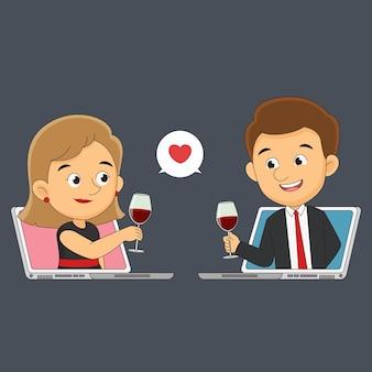 Glücklicher valentinstag, paar in der liebe, die auf dem laptop datiert