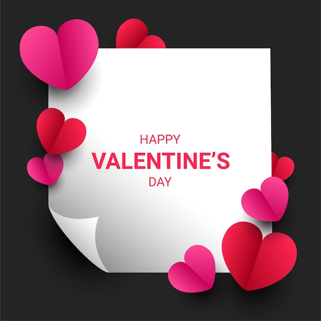 Glücklicher valentinstag-papierschnittstil mit bunter herzform
