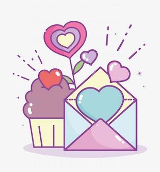 Glücklicher valentinstag, postkarte und cupcakeherzen lieben blumenvektorillustration