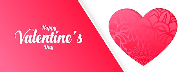 Glücklicher valentinstag rosa herz gruß banner design