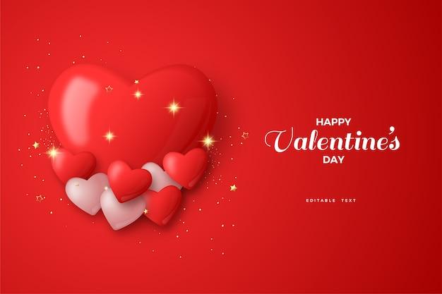Glücklicher valentinstag, rote und weiße ballonillustration 3d.