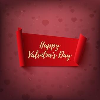 Glücklicher valentinstag, rotes, abstraktes banner auf unscharfem hintergrund mit herzen und bokeh. vektorillustration.