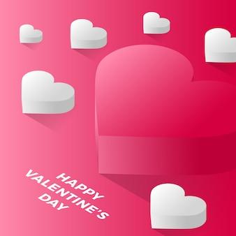 Glücklicher valentinstag rotes liebesherz. isometrisch vom roten liebesherzvektor