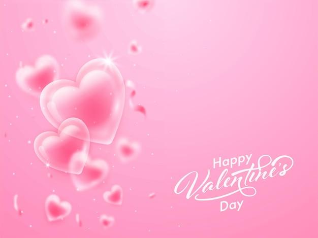 Glücklicher valentinstag schriftart mit glänzenden herzen und konfetti auf rosa hintergrund verziert