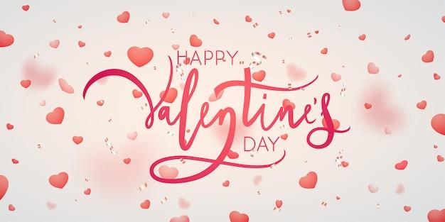 Glücklicher valentinstag schriftzug mit fallenden herzen