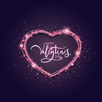 Glücklicher valentinstag schriftzug mit lichtern und glitzer.