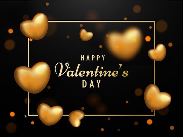 Glücklicher valentinstag-text mit den realistischen goldenen herzen verziert auf brown-hintergrund.