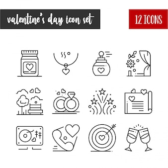 Glücklicher valentinstag-umriss 12-ikonensatz