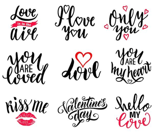 Glücklicher valentinstag und lieben typografie-set