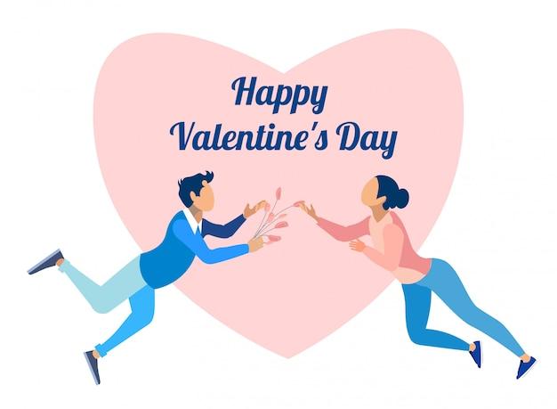 Glücklicher valentinstag und paare in der liebes-karikatur