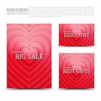 Glücklicher valentinstag-verkauf vektor-design-elemente flyer-karten-banner