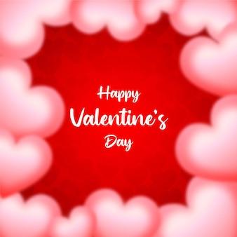 Glücklicher valentinstag verwischen herz, roter hintergrund