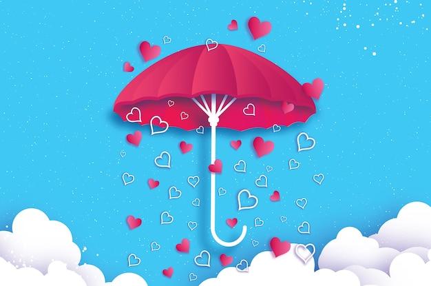 Glücklicher valentinstag weißer regenschirm luft mit liebe, die origami herz regnet regentropfensaison herz im papierschnittstil auf blauem hintergrund romantische feiertage liebe februar