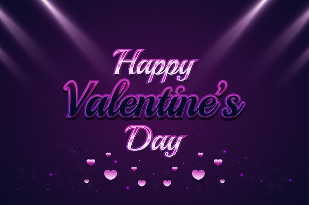 Glücklicher valentinstaggruß mit buntem text, rosa herzen und leuchtenden fackeln auf lila hintergrund