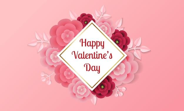 Glücklicher valentinstaggruß mit papierartblume und -blatt.